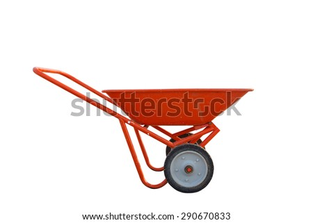 Red Wheelbarrow isolated on white - stock photo