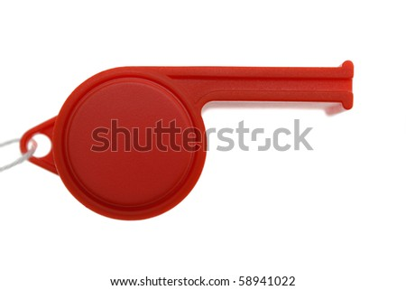 red whistle isolated on white background - stock photo