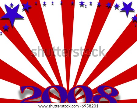 Red white and blue 2008 background - stock photo