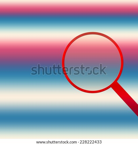Red, white, and blue background with red magnifying glass on the right side of illustration. - stock photo
