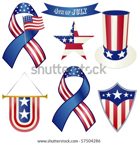 Red white and blue objects vector - stock photo