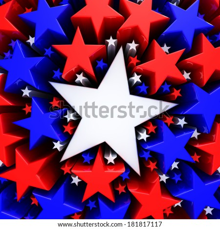 Red, white and blue stars - stock photo
