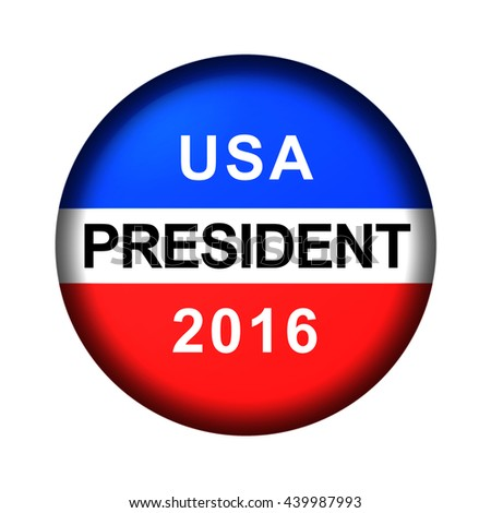 Red white and blue vote button for 2016 - stock photo