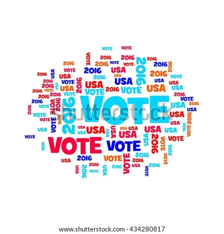 Red white and blue vote USA 2016 sign. - stock photo