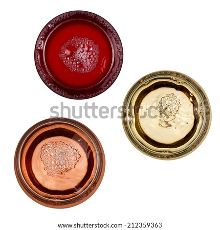 Red, white and rose wine glasses, top view - stock photo
