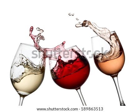 Red, white and rose wine splash - stock photo