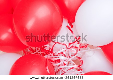 red-white balloons on  board - stock photo