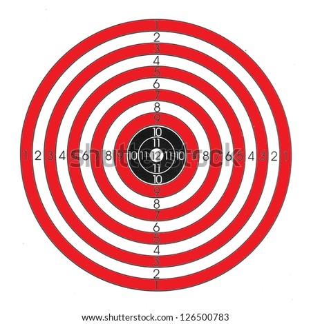 Red / white / black shooting target - stock photo