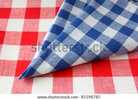 red white blue checkered fabric - stock photo