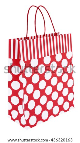 Red white striped dotted paper shopping bag - stock photo