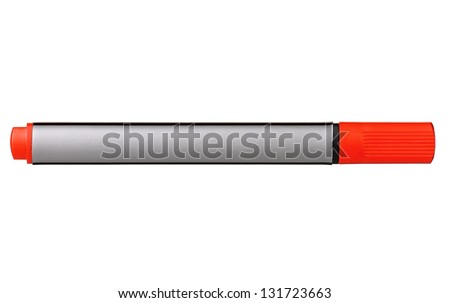 Red whiteboard marker isolated on white background - stock photo