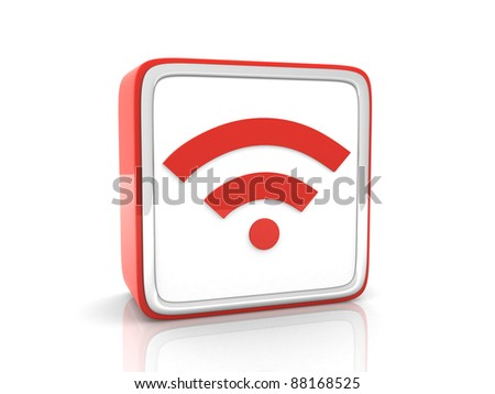 Red wifi icon - 3d render - stock photo