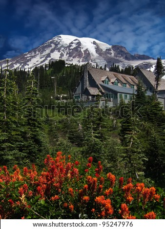 Red wildflowers in front of Paradise Inn Lodge at Mt Rainier, Washington. - stock photo