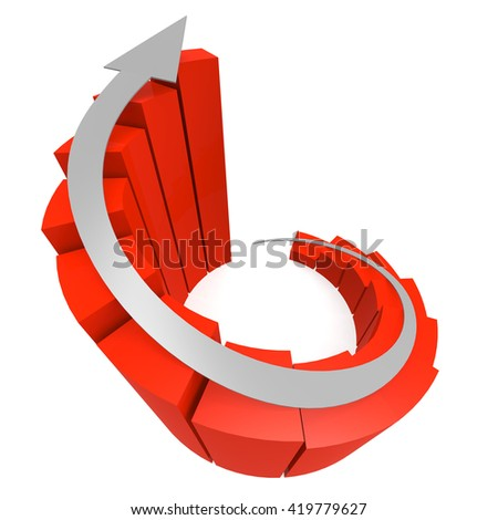 Red winding bar chart with white arrow image, 3D rendering - stock photo