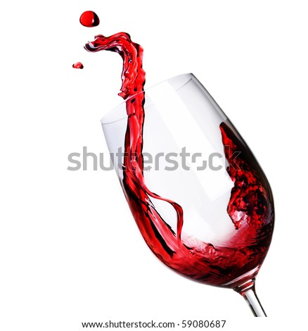 Red Wine Abstract Splashing - stock photo