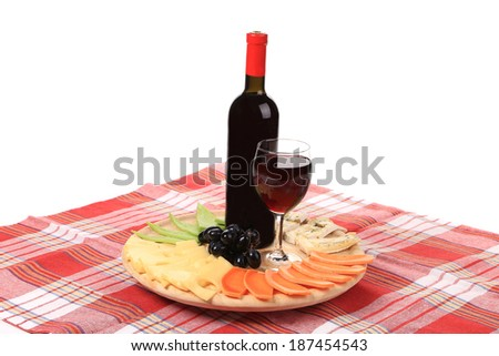 Red wine and cheese composition. Isolated on a white background. - stock photo