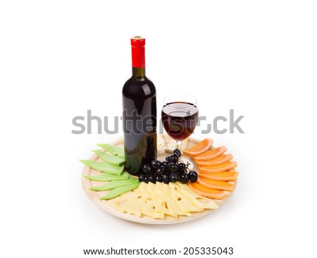 Red wine and cheese composition. Whole background. - stock photo
