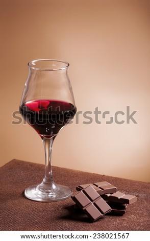 Red wine and chocolate - stock photo