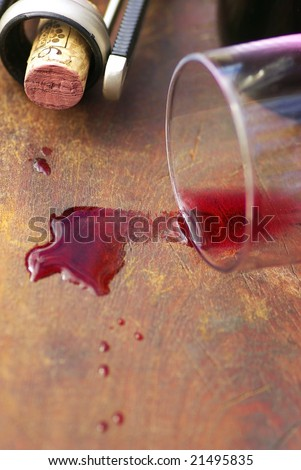 Red wine and cork closeup. - stock photo