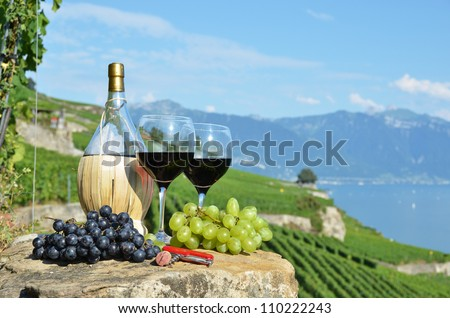 Red wine and grapes. Lavaux region, Switzerland - stock photo