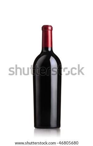 red wine bottle - stock photo