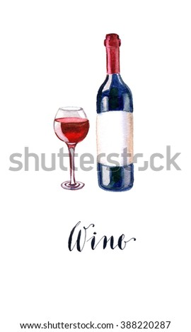 Red wine bottle and glass, hand drawn, watercolor - Illustration - stock photo