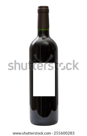 Red wine bottle isolated, blind label - stock photo