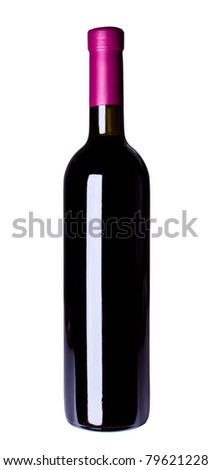 red wine bottle isolated on the white background - stock photo