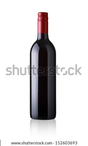Red wine bottle - no label Isolated on white background  - stock photo