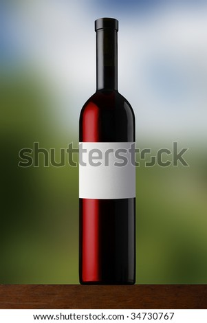 Red wine bottle on soft background - stock photo