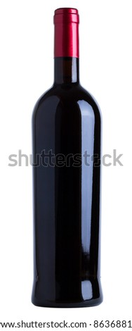 Red wine bottle unlabeled isolated over white background - stock photo