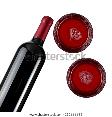 Red wine bottle with two glasses, top view - stock photo