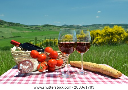 Red wine, bread and tomatoes on the chequered cloth against Tuscan landscape. Italy - stock photo