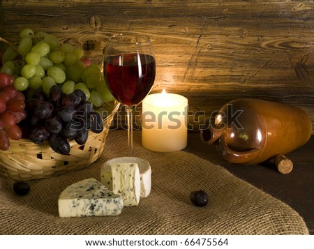 Red wine composition - stock photo