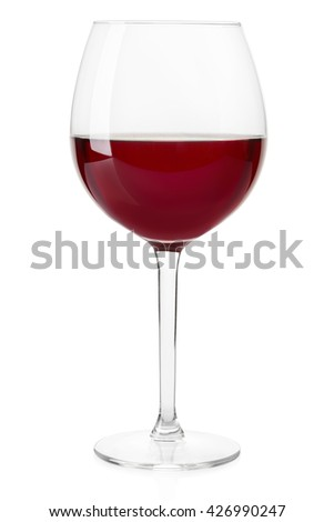 Red wine crystal glass isolated on white, clipping path - stock photo