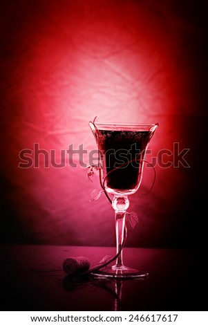 red wine glass against classic background - stock photo