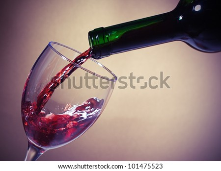 Red Wine glass and Bottle - stock photo