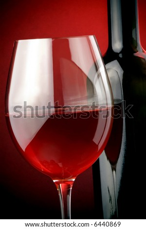 red wine glass bottle - stock photo