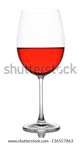 Red wine glass isolated on white - stock photo