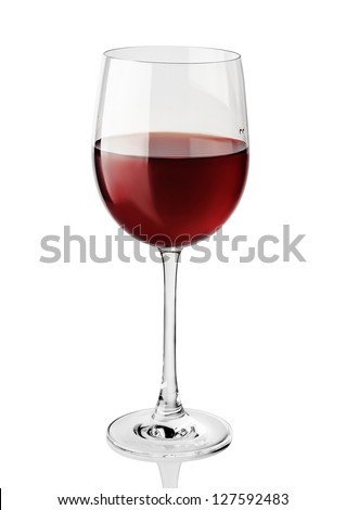 Red wine glass isolated on white background - stock photo