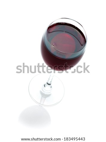 Red wine glass. Isolated on white background - stock photo