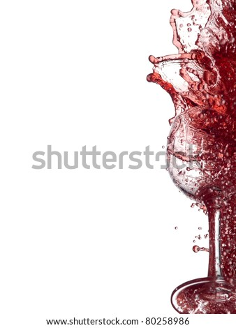 Red wine glass splash - stock photo