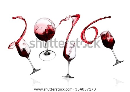Red wine glasses jump and splash 2016 signs - stock photo