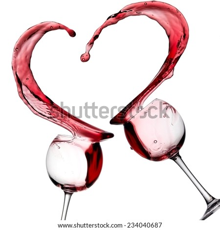 Red wine heart splash - stock photo