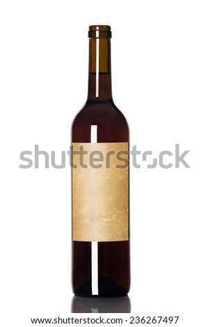 red wine in a bottle isolated over white background - stock photo
