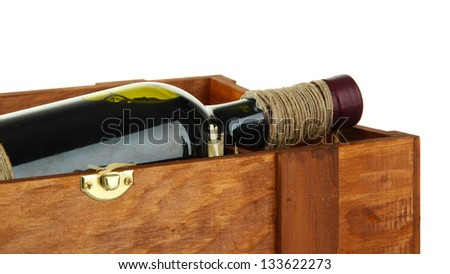 Red wine in box isolated on  white - stock photo