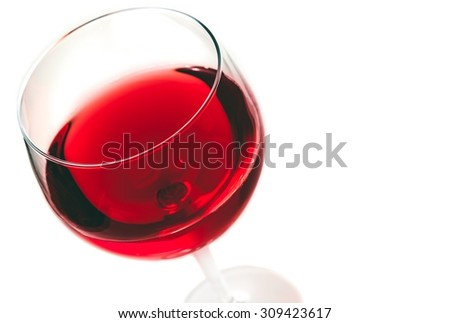 red wine in the glass isolated on white background with space for text - stock photo