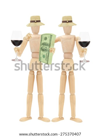 Red Wine Mannequins Female Stack of US Currency one hundred dollar bills isolated on white background - stock photo