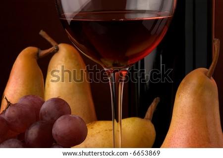 red wine pear apple  grape glass bottle details - stock photo