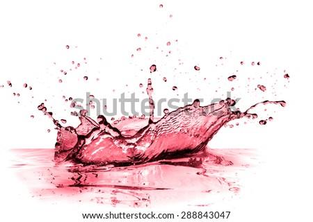 red wine splash isolated on white - stock photo